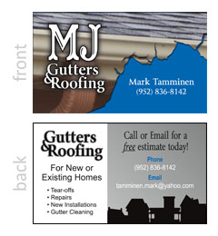 MJ Gutters and Roofing Business Card
