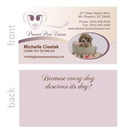 Pleasant Paws Dayspa Business Card