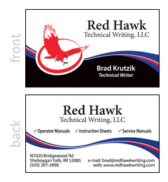 Red Hawk Writing Business Card
