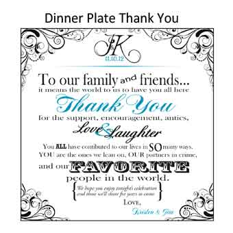 Dinner plate thank you