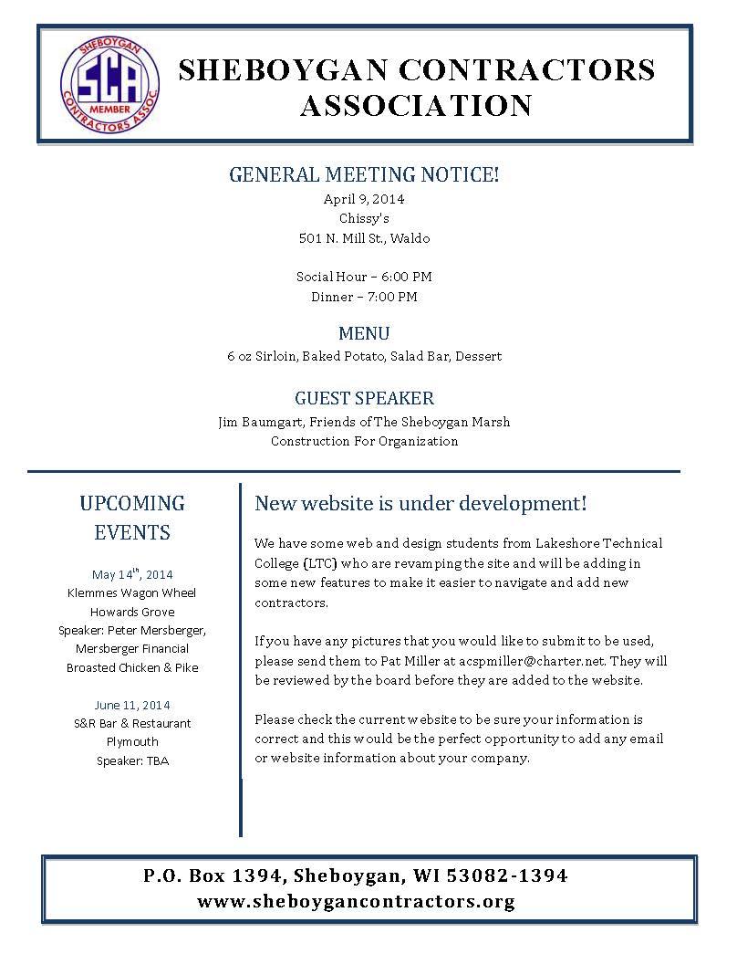 SCA newsletter April 2014